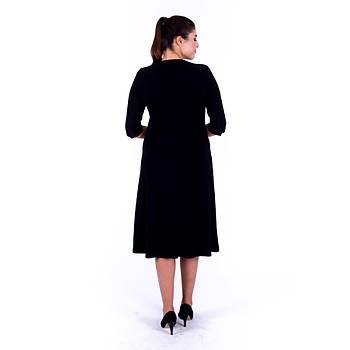 Nidya Moda Papatya Taþlý Yaka Siyah Sandy Abiye Elbise-4142S