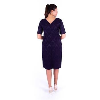 Nidya Moda V Yaka Jakar Krep Lacivert Abiye Elbise-4137L