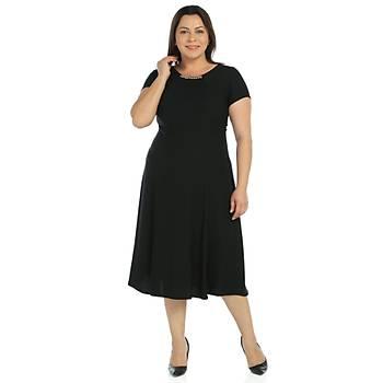 Nidya Moda Büyük Beden Elbise Sem Krep-4088S