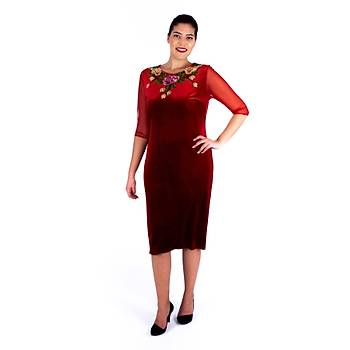 Nidya Moda Tül Kol Gül Aplik Yaka Kýrmýzý Kadife Abiye Elbise-4125K