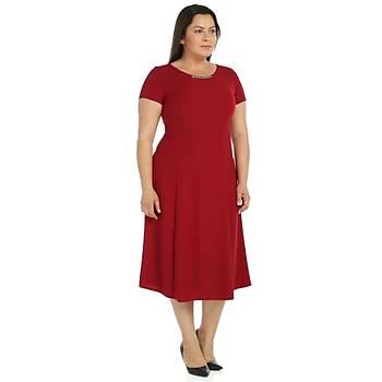 Nidya Moda Büyük Beden Sem Krep Elbise-4088B