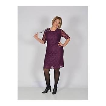Nidya Moda Büyük Beden Midi Kol Mürdüm Dantel Abiye Elbise-4009BDM