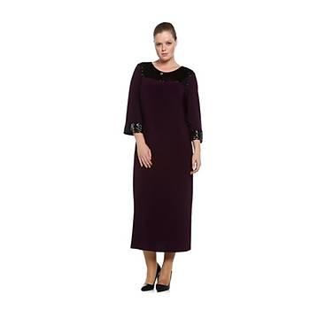 Nidya Moda Büyük Beden Payet Konbin Mürdüm Abiye Elbise-4056M