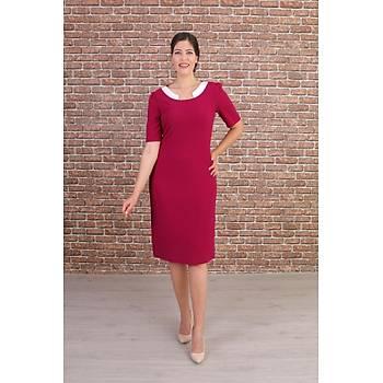 Nidya Moda Büyük Beden Kadýn Fuþya Yaka Ay Kombinli Abiye Elbise-4156F