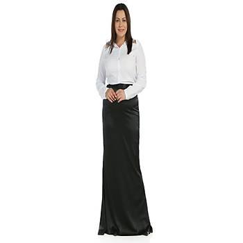 Nidya Moda Büyük Beden Saten Balýk Siyah Etek-3003S