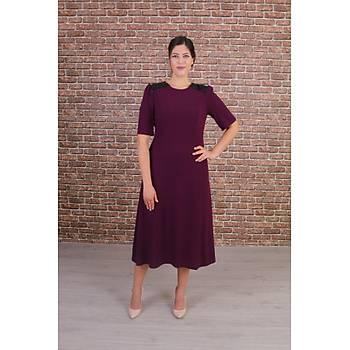 Nidya Moda Büyük Beden Kadýn Mürdüm Omuz Pullu Payet Kombinli Kuplu Abiye Elbise-4159M