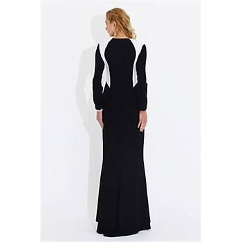 Nidya Moda Büyük Beden Siyah Kombinli Balýk Elbise-4048KS