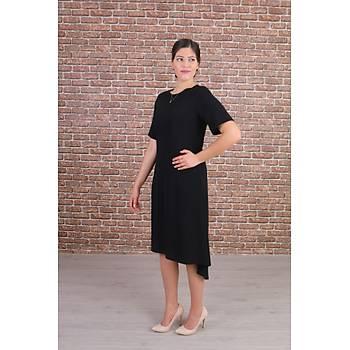 Nidya Moda Büyük Beden Kadýn Siyah Ön Kýsa Arka Uzun Krep Elbise-4151S