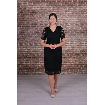 Nidya Moda Büyük Beden Kadýn Siyah Dantel Elbise-4161S