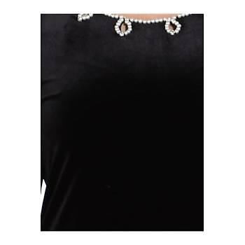 Nidya Moda Büyük Beden Lazer Ýncili Kadife Abiye Elbise-4072S