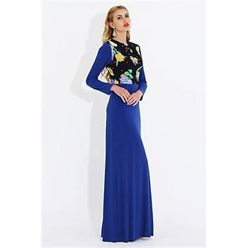 Nidya Moda Büyük Beden Üst Çiçekli Uzun Elbise-4046SX