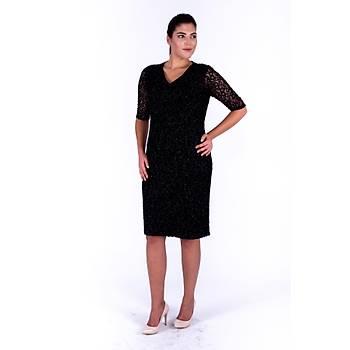 Nidya Moda V Yaka Simli Siyah Dantel Abiye Elbise-4009YS
