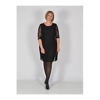 Nidya Moda Büyük Beden Midi Kol Siyah Dantel Abiye Elbise-4009BDS