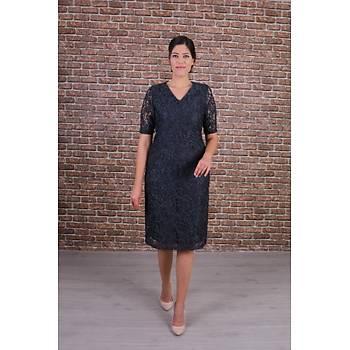 Nidya Moda Büyük Beden Kadýn Antrasit Gri Dantel Elbise-4161G