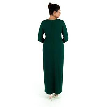 Nidya Moda Gelincik Aplik Yaka Örme Yeþil Uzun Abiye Elbise-4129Y