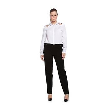 Nidya Moda Büyük Beden Beli Lastikli Pantolon-2020AS