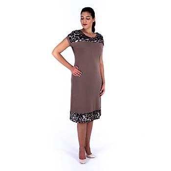 Nidya Moda Pullu Payet Kombinli Vako Örme Vizon Abiye Elbise-4117V