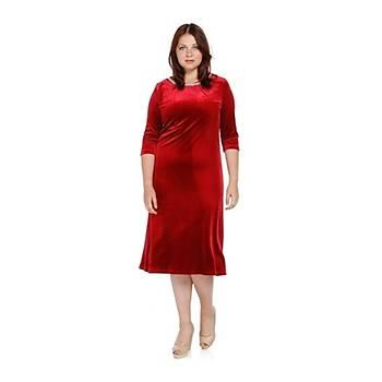 Nidya Moda Büyük Beden Pilili Ýnci Yaka Elbise-4074K