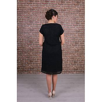 Nidya Moda Büyük Beden Vako Siyah Dantel Abiye Elbise-4035VS
