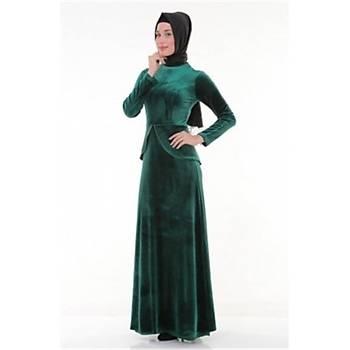 Nidya Moda Büyük Beden Tesettür Peplumlu Abiye Elbise-4044Y