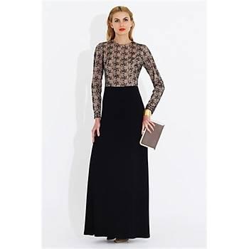 Nidya Moda Büyük Beden Üst Dantelli Elbise-4049S