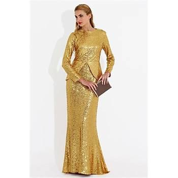 Nidya Moda Büyük Beden Pullu Payet Peplumlu Uzun Elbise-4047D