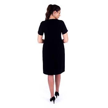 Nidya Moda Yaka Güpür Ýnci Taþlý Siyah Krep Abiye Elbise-4102S