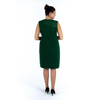 Nidya Moda Büyük Beden Roba Tül Ýþli Krep Elbise-4011AY
