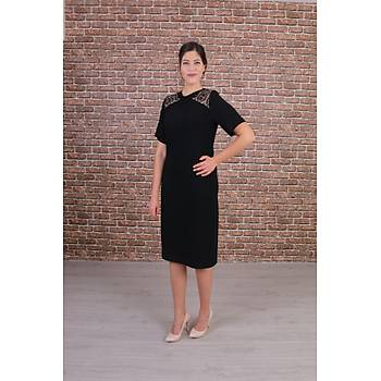 Nidya Moda Büyük Beden Kadýn Siyah Omuz Pullu Payet Kombinli Abiye Elbise-4153S