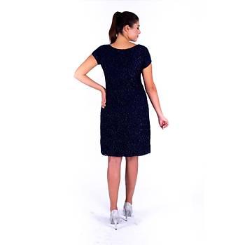 Nidya Moda Simli Lacivert Vako Dantel Abiye Elbise-4035YL