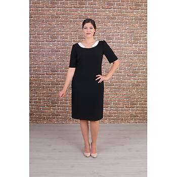 Nidya Moda Büyük Beden Kadýn Siyah Yaka Ay Kombinli Abiye Elbise-4156S