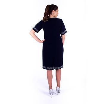 Nidya Moda Taþ Nakýþlý V Yaka Lacivert Krep Abiye Elbise-4101L