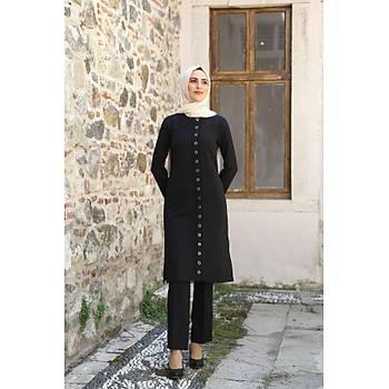 Nidya Moda Tesettür Kadýn Siyah Kuþgözü Pantolon Tunik Takým-3005S