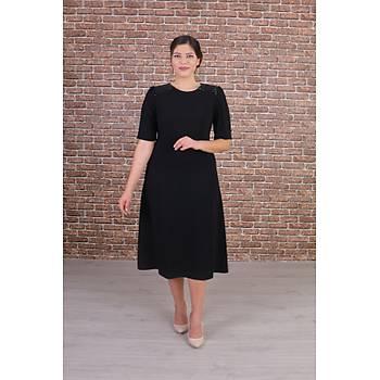 Nidya Moda Büyük Beden Kadýn Siyah Omuz Pullu Payet Kombinli Kuplu Abiye Elbise-4159S