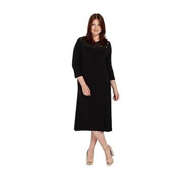 Nidya Moda Büyük Beden Dantel Kombinli Elbise-4078DS