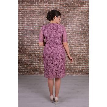 Nidya Moda Büyük Beden Kadýn Gül Kurusu Dantel Elbise-4161GK