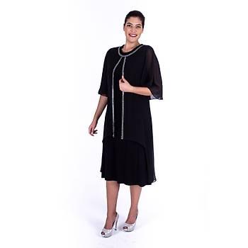 Nidya Moda Üst Asimetrik Þifon Taþlý Siyah Sandy Abiye Elbise-4132S