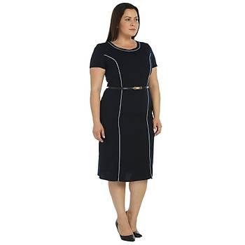 Nidya Moda Büyük Beden Biyeli Krep Elbise-4084LM