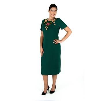 Nidya Moda Gül Aplik Yaka Yeþil Örme Abiye Elbise-4126Y