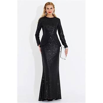 Nidya Moda Büyük Beden Peplum Pullu Payet Elbise-4047S