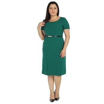 Nidya Moda Büyük Beden Yýrtmaçlý Krep Elbise-4086Y