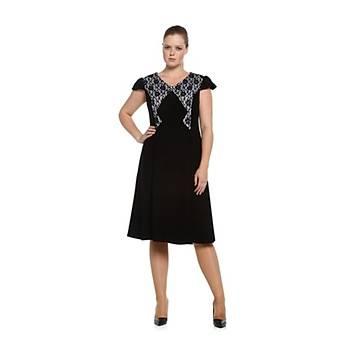 Nidya Moda Büyük Beden Dantel Kombin Elbise-4062S