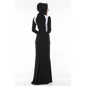 Nidya Moda Tesettür Siyah  Kombinli Balýk Abiye Elbise-4048KS
