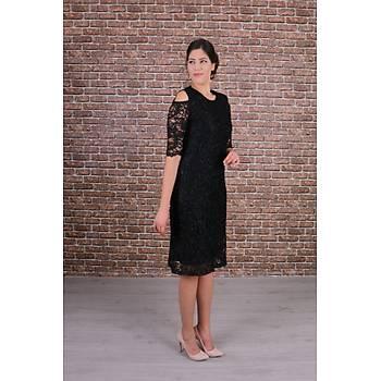 Nidya Moda Büyük Beden Kadýn Siyah Omzu Pencereli Dantel Elbise-4146S