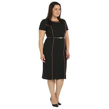 Nidya Moda Büyük Beden Biyeli Krep Elbise-4084SSM