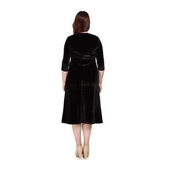 Nidya Moda Büyük Beden Lazer Taþlý Kadife Elbise-4072AS