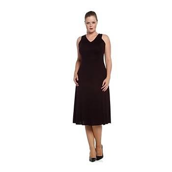 Nidya Moda Büyük Beden V Yaka Kolsuz Elbise-4064M