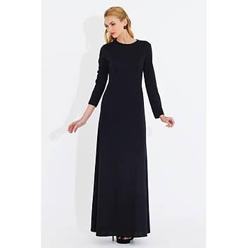 Nidya Moda Büyük Beden Kadýn Siyah Klasik Uzun Elbise-4043S