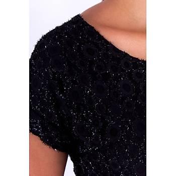 Nidya Moda Simli Siyah Vako Dantel Abiye Elbise-4035YS