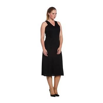 Nidya Moda Büyük Beden V Yaka Kolsuz Elbise-4064L